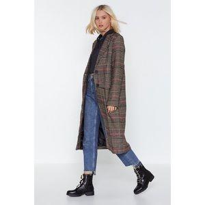 Nasty Gal Longline Plaid Coat (Size 2)